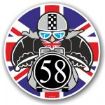 Year Dated 1958 Cafe Racer Roundel Design & Union Jack Flag Vinyl Car sticker decal 90x90mm